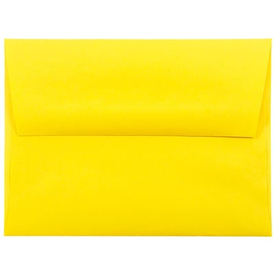JAM Paper® A2 Invitation Envelopes, 4 3/8 x 5 3/4, Brite Hue Yellow Recycled, 50/pack (15839I)
