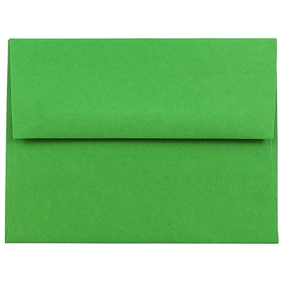 JAM Paper® A2 Invitation Envelopes, 4 3/8 x 5 3/4, Brite Hue Green Recycled, 50/pack (15843I)