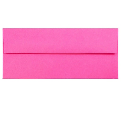 JAM Paper® #10 Business Envelopes, 4 1/8 x 9 1/2, Brite Hue Ultra Fuchsia Pink, 1000/carton (15847B)