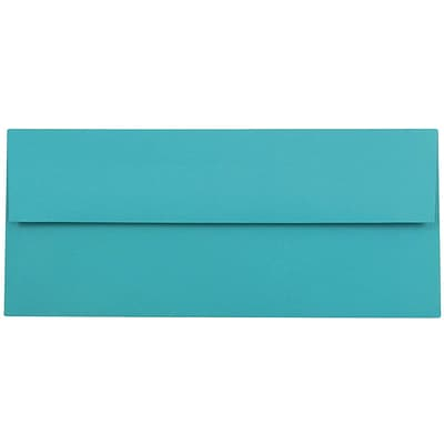 JAM Paper® #10 Business Envelopes, 4 1/8 x 9 1/2, Brite Hue Sea Blue Recycled, 50/pack (15858I)