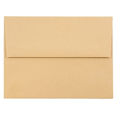 JAM Paper® A2 Invitation Envelopes, 4 3/8 x 5 3/4, Ginger Brown Recycled, 50/pack (21545I)