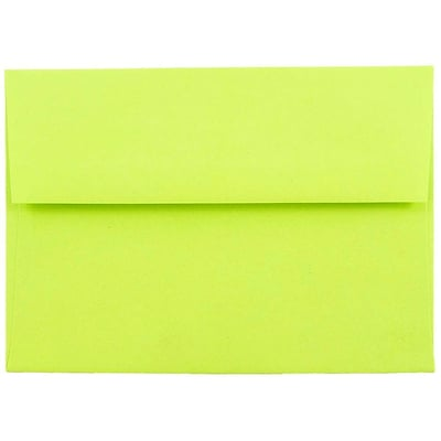 JAM Paper® A6 Invitation Envelopes, 4.75 x 6.5, Brite Hue Ultra Lime Green, 1000/carton (52610B)