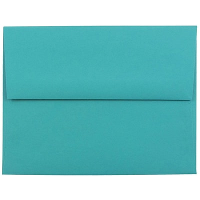 JAM Paper® A2 Invitation Envelopes, 4 3/8 x 5 3/4, Brite Hue Sea Blue Recycled, 50/pack (70207I)