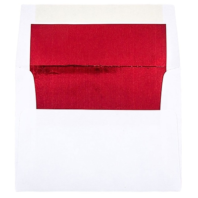 JAM Paper® A2 Foil Lined Envelopes, 4 3/8 x 5 3/4, White with Red Lining, 250/box (72158H)