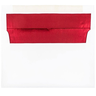 JAM Paper® A9 Foil Lined Envelopes, 5.75 x 8.75, White with Red Lining, 250/box (76798H)