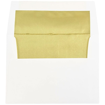 JAM Paper® A2 Foil Lined Envelopes, 4 3/8 x 5 3/4, White with Gold Lining, 250/box (79507H)