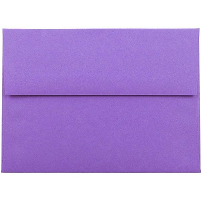 JAM Paper® A6 Invitation Envelopes, 4.75 x 6.5, Brite Hue Violet Purple Recycled, 25/pack (80260)