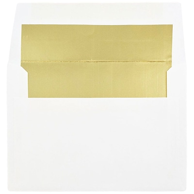 JAM Paper® A6 Foil Lined Envelopes, 4.75 x 6.5, White with Gold Lining, 50/pack (82851I)