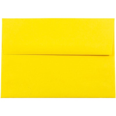 JAM Paper® A7 Invitation Envelopes, 5.25 x 7.25, Brite Hue Yellow Recycled, 50/pack (96326I)
