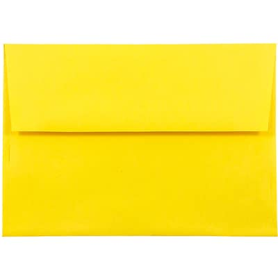 JAM Paper® A8 Invitation Envelopes, 5.5 x 8.125, Brite Hue Yellow Recycled, 25/pack (96334)