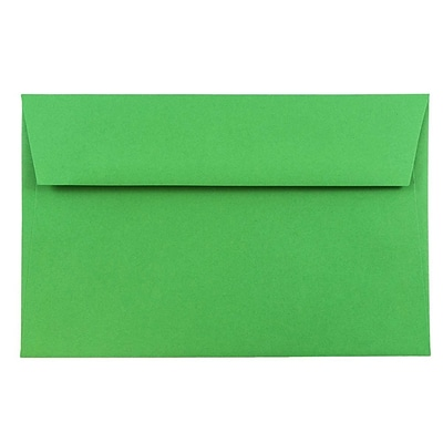 JAM Paper® A9 Invitation Envelopes, 5.75 x 8.75, Brite Hue Green Recycled, 250/box (98176H)