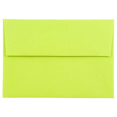 JAM Paper® 4bar A1 Envelopes, 3 5/8 x 5 1/8, Brite Hue Ultra Lime Green, 25/pack (155438)