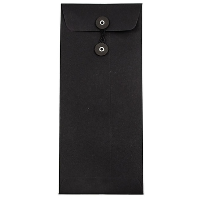 JAM Paper® #10 Policy Envelopes with Button and String Tie Closure, 4 1/8 x 9 1/2, Black Linen Recycled, 1000/carton (1261601B)