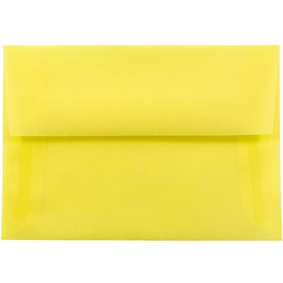 JAM Paper® 4bar A1 Envelopes, 3 5/8 x 5 1/8, Yellow Translucent Vellum, 50/pack (1591616I)