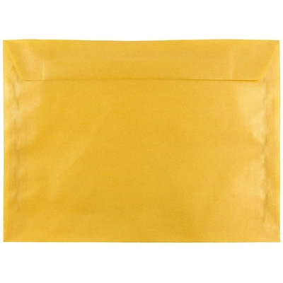 JAM Paper® 9 x 12 Booklet Envelopes, Translucent Vellum Gold, 25/pack (1592176)
