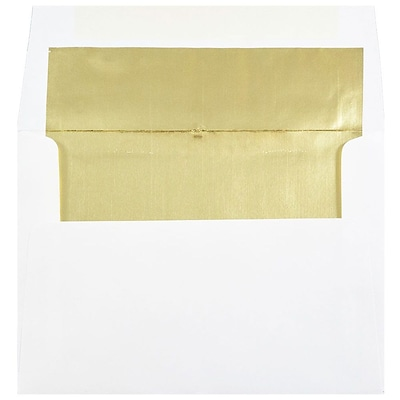 JAM Paper® A7 Foil Lined Envelopes, 5.25 x 7.25, White with Gold Lining, 250/box (3243663H)