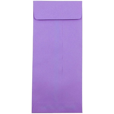 JAM Paper® #12 Policy Envelopes, 4.75 x 11, Brite Hue Violet Purple Recycled, 50/pack (4156910I)