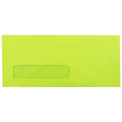 JAM Paper® #10 Window Envelopes, 4 1/8 x 9 1/2, Brite Hue Ultra Lime Green, 25/pack (5156480)