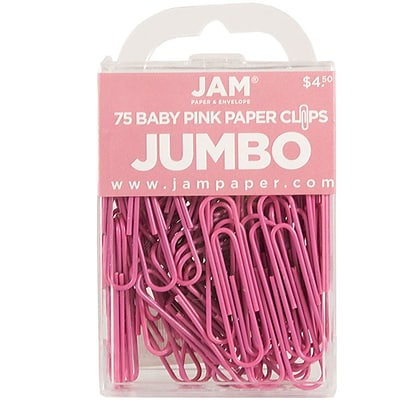 JAM Paper® Vinyl Colored Jumbo Paper Clips, Large, Pink, 75/Pack (42186873)