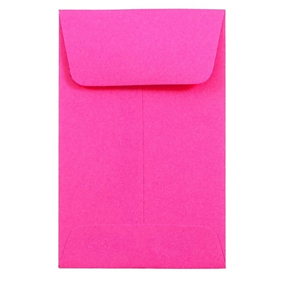 JAM Paper® #1 Coin Business Colored Envelopes, 2.25 x 3.5, Ultra Fuchsia Pink, Bulk 500/Box (352927832H)