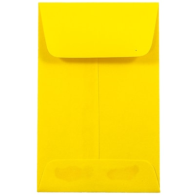 JAM Paper® #1 Coin Envelopes, 2.25 x 3.5, Brite Hue Yellow Recycled, 1000/carton (353127843C)