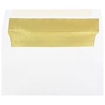 JAM Paper® A10 Foil Lined Envelopes, 6 x 9.5, White with Gold Lining, 25/pack (900905660)