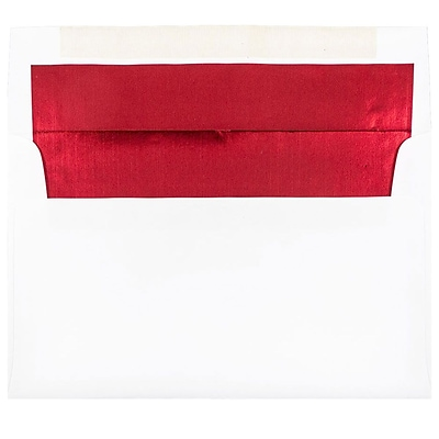 JAM Paper® A10 Foil Lined Envelopes, 6 x 9.5, White with Red Lining, 25/pack (900905662)