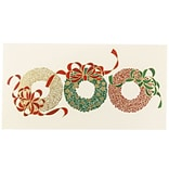 JAM Paper® Christmas Holiday Cards Box Set, Three Wreaths, 25/pack (52614492S)