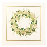 JAM Paper® Christmas Holiday Cards Set, Gold and Green Wreath, 25/pack (52614492U)