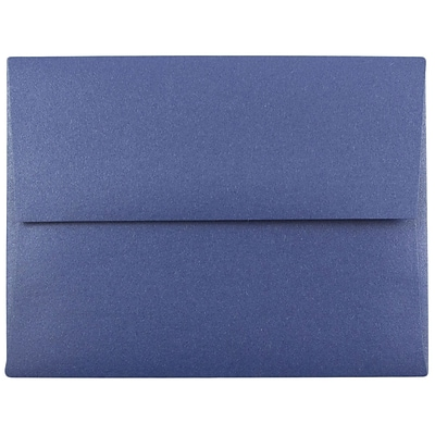JAM Paper® A2 Invitation Envelopes, 4 3/8 x 5 3/4, Stardream Metallic Sapphire Blue, 50/pack (GCST605I)