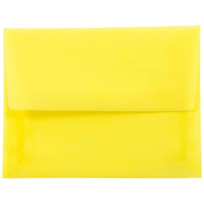 JAM Paper® A2 Invitation Envelopes, 4 3/8 x 5 3/4, Yellow Translucent Vellum, 50/pack (PACV606I)
