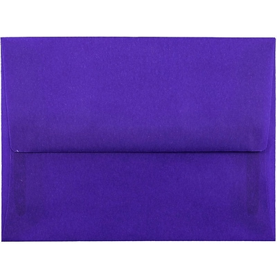JAM Paper® A2 Invitation Envelopes, 4 3/8 x 5 3/4, Purple Translucent Vellum, 50/pack (PACV607I)