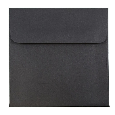 JAM Paper® 5 x 5 Square Envelopes, Black Linen Recycled, 50/pack (V01209I)