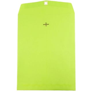 JAM Paper® 10 x 13 Open End Catalog Envelopes with Clasp Closure, Brite Hue Ultra Lime Green, 100/pa