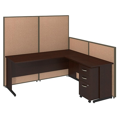 Bush Business Furniture 72W C-Leg L-Desk and 3 Drawer Mobile Pedestal with ProPanels, Harvest Tan (PPC025HT)