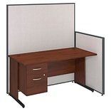 Bush Business Furniture 60W C-Leg Desk with 3/4 Pedestal and ProPanels, Light Gray (PPC018LG)