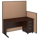 Bush Business Furniture 60W C-Leg Desk and 3 Drawer Mobile Pedestal with ProPanels, Harvest Tan (PPC