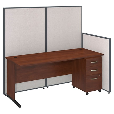 Bush Business Furniture 72W C-Leg Desk and 3 Drawer Mobile Pedestal with ProPanels, Light Gray (PPC022LG)