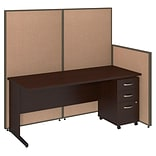 Bush Business Furniture 72W C-Leg Desk and 3 Drawer Mobile Pedestal with ProPanels, Harvest Tan (PPC