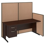 Bush Business Furniture 72W C-Leg Desk with 3/4 Pedestal and ProPanels, Harvest Tan (PPC017HT)