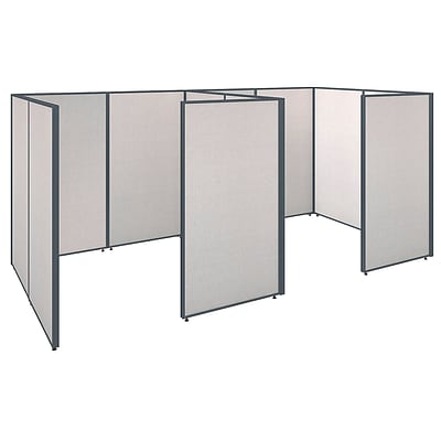 Bush Business Furniture ProPanels 144W x 72D x 66H 2 Person Closed Cubicle Configuration, Light Gray (PPC006LG)