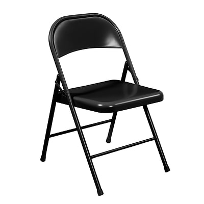 NPS #910 All-Steel Commercialine Folding Chairs, Black/Black - 4 Pack