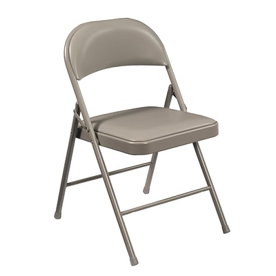NPS #952 Vinyl Upholstered Commercialine Folding Chairs, Grey/Grey - 100 Pack
