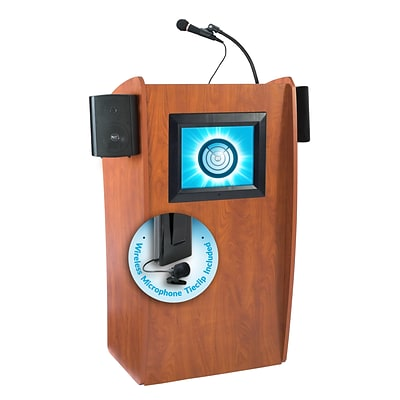 Oklahoma Sound Vision 46 High Sound Lectern with Screen & Wireless Tie Clip Mic Cherry (612-S/LWM-6