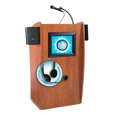 Oklahoma Sound Vision 46 High Sound Lectern with Screen & Wireless Headset Mic Cherry (612-S/LWM-7)
