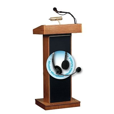 Oklahoma Sound Orator 46 High Sound Lectern with Wireless Headset Mic Medium Oak (800X-MO/LWM-7)