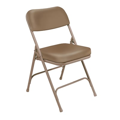 NPS #3201 2 Vinyl Padded Folding Chairs, Beige/Beige - 52 Pack