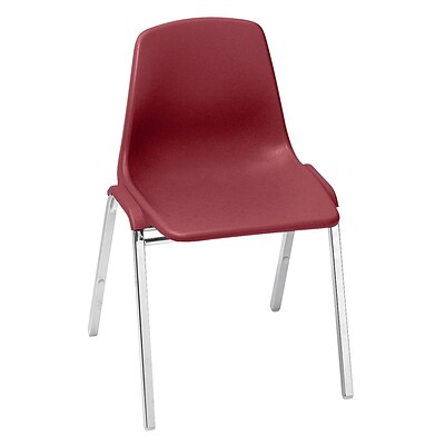 NPS #8118 Poly Shell Stack Chair, Burgundy/Chrome 40 Pack