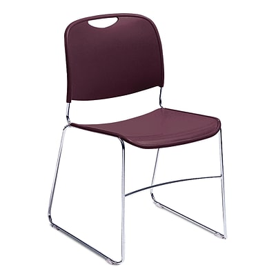 NPS #8508/40 Hi-Tech Ultra-Compact Plastic Seat/Back Stack Chair, Wine/Chrome - 40 Pack