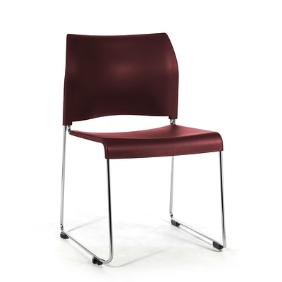NPS #8818-11-18 Plastic Cafetorium Chair, Burgundy/Chrome - 80 Pack